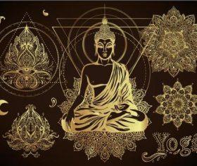 Sakyamuni 3D golden element illustration vector