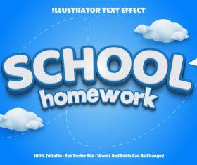 School homework vector editable text effect