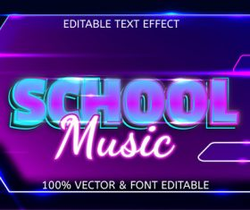 School music editable text effect vector
