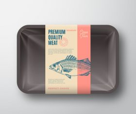 Sea bass canned fish label design vector