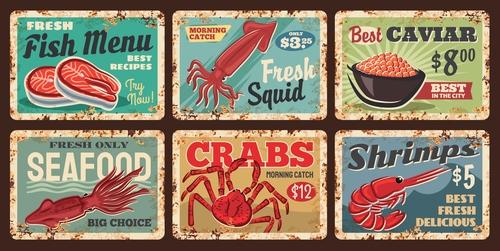 Seafood food advertisement vector