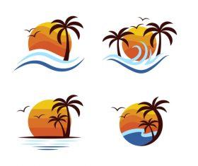 Seaside sunrise logo vector