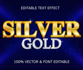 Silver gold luxury editable text effect vector