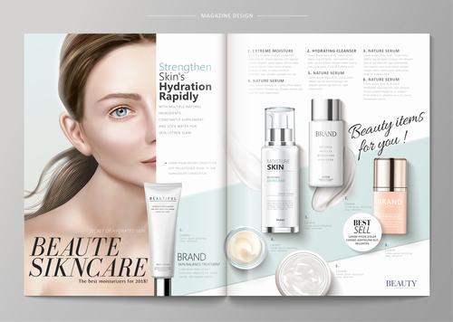 Skin hydration magazine vector