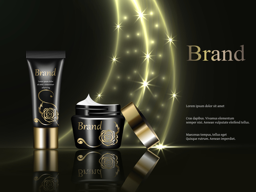 Skincare products cosmetics ads vector