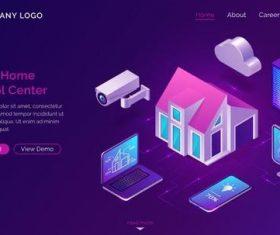 Smart home control center card vector