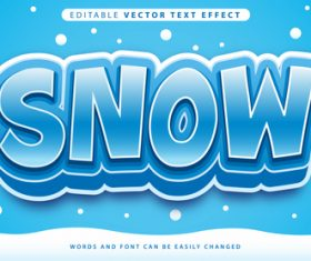 Snow editable vector text effect vector