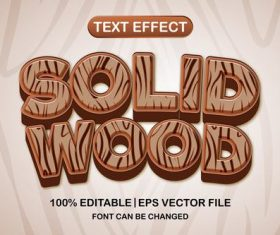Solid wood text effect vector