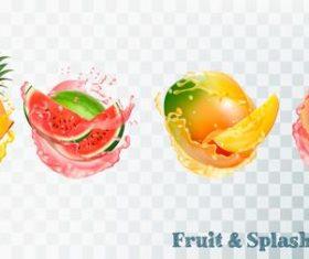 Splash of juice and fresh fruit vector