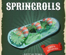 Spring rolls flyer vector