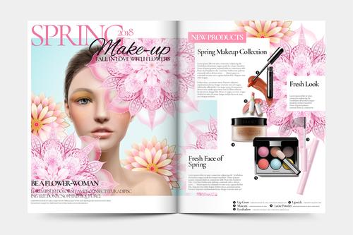 Spring skin care magazine cover vector