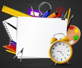 Stationery and whiteboard background vector