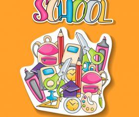 Sticker welcome back to school vector