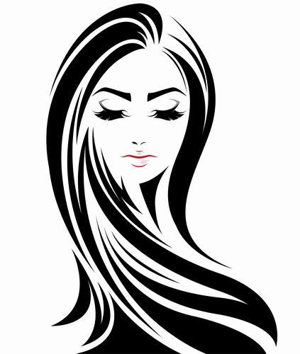 Straight hair girl vector