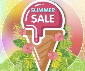 Summer ice cream cone sale flyer vector