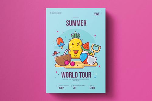Summer party flyer template vector