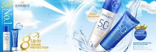 Summer sunscreen ads vector