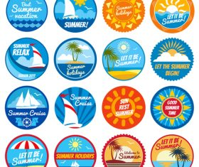 Sun rest summer logo vector