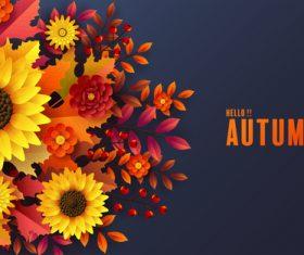 Sunflower background autumn card vector