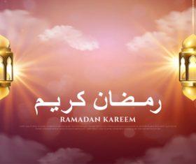 Sunset background Ramadan kareem card vector