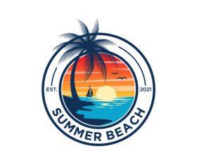 Sunset summer beach logo vector
