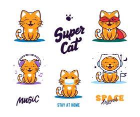 Super cat cartoon vector