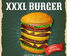 Supersized burger flyer vector
