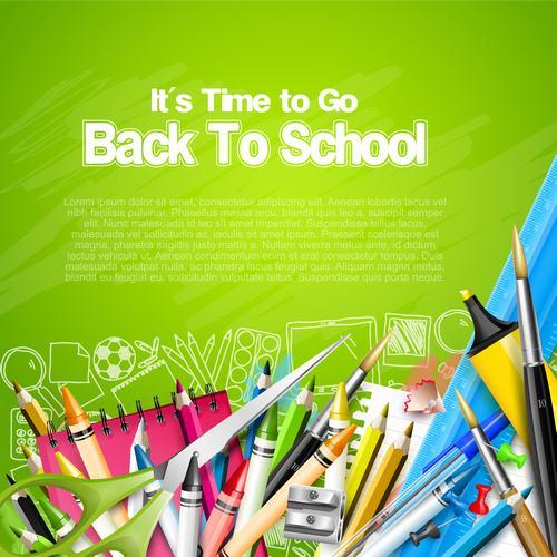 Supplies green copyspace back to school vector