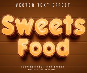 Sweets food vector text effect