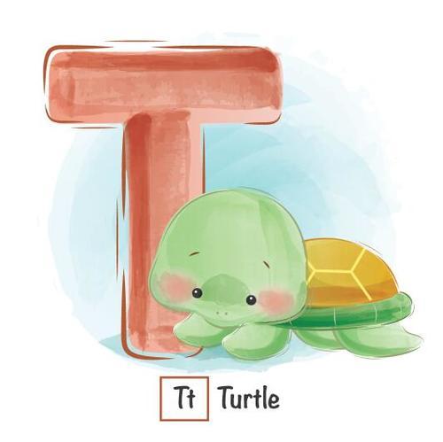 T english word cartoon vector