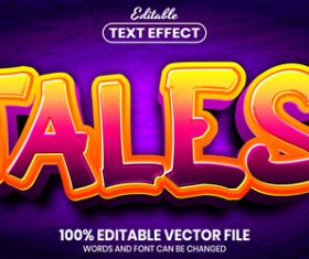 Tales text font style vector