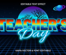 Teachers day editable text effect retro style vector