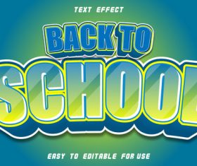 Text effect back to school blue yellow blur vector