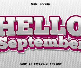 Text effect hello september white vector