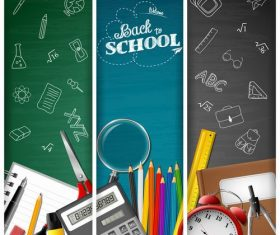 Three color back to school background banner vector