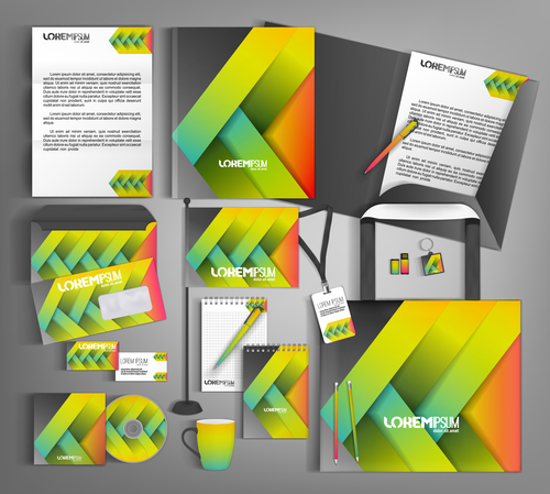 Three color background business template vector