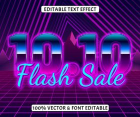 Time editable text effect retro neon style vector