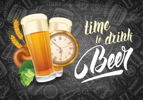 Time to drink beer vector