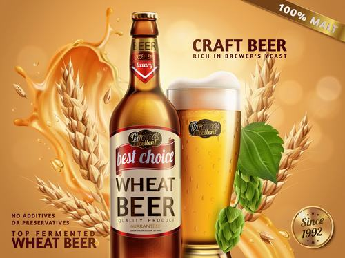 Top fermented wheat beer advertisement vector