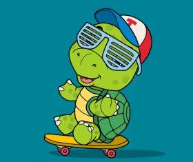 Tortoise vector sitting on a skateboard
