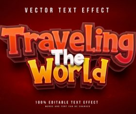 Traveling the world text effect vector