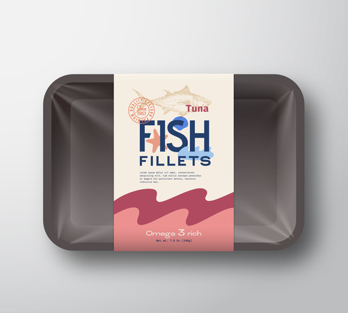 Tuna fish fillets canned food label design vector