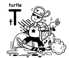 Turtle english word cartoon illustration vector