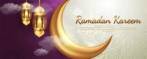 Two-color Islamic style card vector