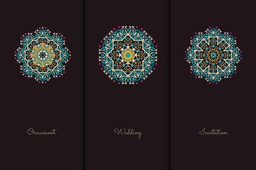 Two color geometric pattern mandala vector