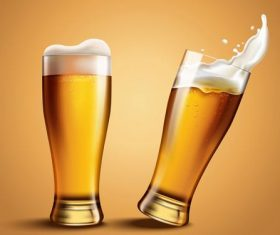 Two glasses of draft beer vector