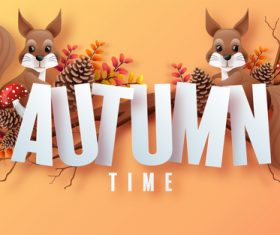 Two squirrels background vector