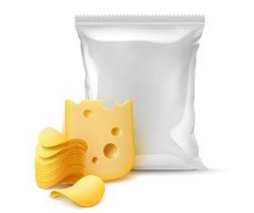 Vacuum packaging bag cheese vector