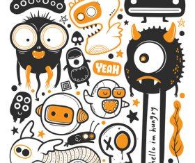 Various monster illustration vector