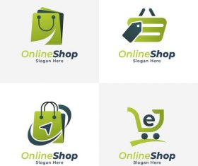 Various online store logo design vector